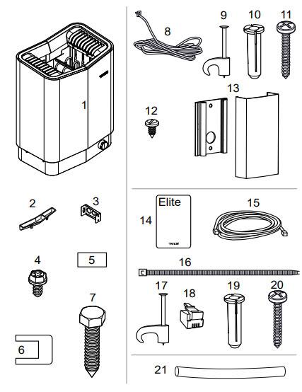 Комплектация электрической печи для сауны Tylo Sense Elite 10: