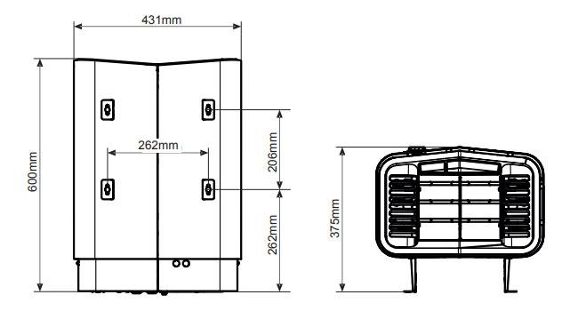 Габаритные размеры электрической печи для сауны Tylo Sense Elite 10: