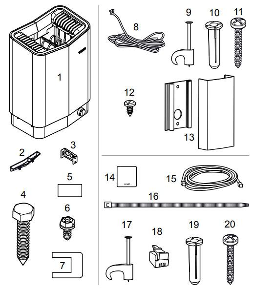 Комплектация электрической печи для сауны Tylo Sense Pure 10: